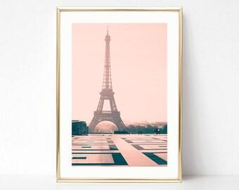 Paris wall art, Eiffel tower print, wall art canvas, Paris photography, pink wall art, canvas art, Paris prints, extra large wall art