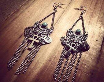 Silver Egyptian Ankh Boho Chic earrings ♠Turquoise♠