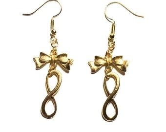 Bow ∞Infini∞ Golden steampunk earrings