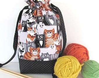 Crochet Project Bag, Knitting Bag Medium Drawstring Bag, Knitting Tote Bag - Bag of Cats