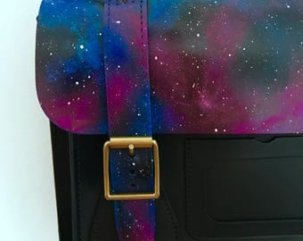 Hand painted Gothic Galaxy Print Dr Marten Leather Satchel Messanger Bag, Nebula, Outer Space, Made To Order.