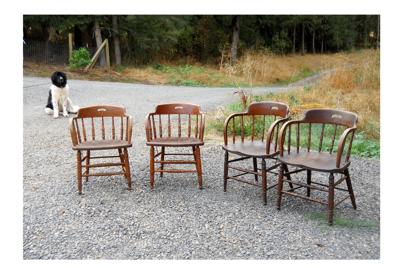 Rare 1900 Tavern Oak Chair Set Rustic Farmhouse Heywood