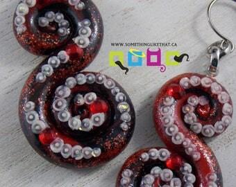 Octopus Tentacle Inspired Dangle / Chandelier Earrings - Temptress