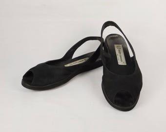 ANDRE ASSOUS Black Suede Slingback Sandals US Size 7M