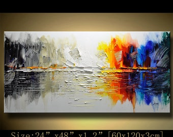 Abstract Wall Painting, expressionism Textured Painting,Impasto Landscape Painting  ,Palette Knife Painting on Canvas by Chen 0614