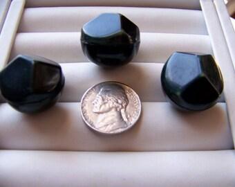 Set of 3 Vintage 3D Celluloid Hollow Dark Green  Shank Buttons