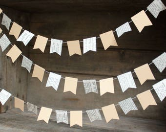 Flag Garland, Book Page Garland. Paper Garland, Wedding Decoration, Party Decoration, Flag Garland, TINY Flag Bunting, 10 feet long