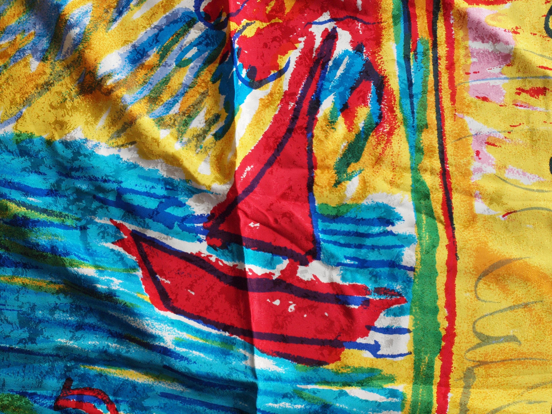 80s Carlos Falchi silk scarf boat fishermen ocean fish bright colors ...