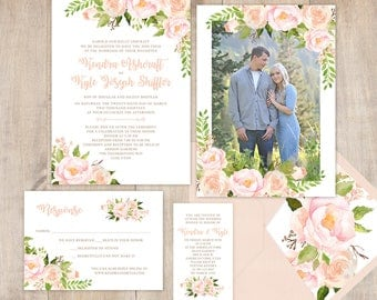Floral Wedding Invitation with greenery and pink flowers, brush fonts, modern design, spring or summer wedding, full paper suite