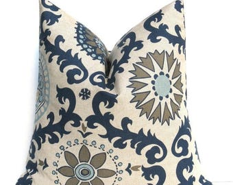 15% Off Sale NAVY PILLOW Blue Tan Pillow Cover Decorative   Pillow Covers  - Damask - Pillow Sham   Dark Blue Cream. Cushion Cover Paisley