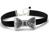 Women Silver Bow Tie Choker Necklace -  Black Velvet Band - Fun and Fancy Accessory for Party and Black-Tie Events - Cute Formal Look