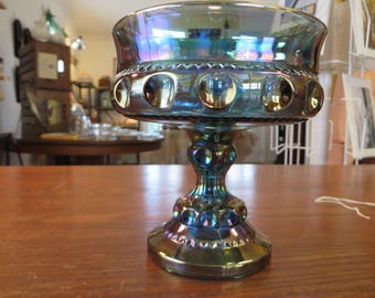 Viintage Candy Dish Blue Carnival Glass Stemmed Compote Bowl