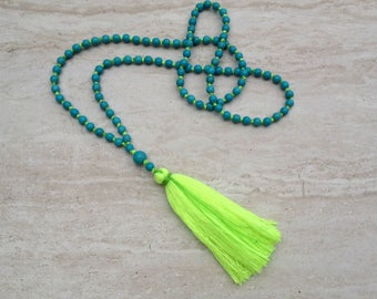 Neon Yellow Tassel Necklace Turquoise Tassel Necklace Hand Knotted Beaded Tassel Necklace Statement Necklace Long Tassle Tiered Necklace