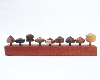 This set of 9 tops in bloodwood stand