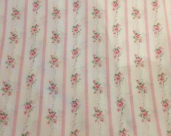 Quilting Cotton, Pink Rose Fabric, Pink and White Stripe Fabric, Robin Mynatt for Paris Bebe Fabrics
