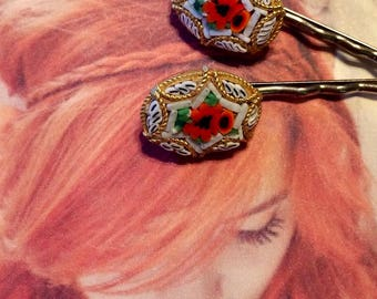 Micro Mosaic Bridal Hair Pins Jewelry Decorative White Red Rose Hairpins Bobby Pins Woodland Goddess Wedding