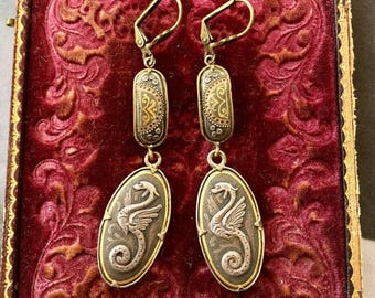 1stDayofSummerSALE Damascene Dragon Reign Bridal Earrings Vintage 1920 1930 Art Deco Nouveau Game Thrones Daenerys Targaryen Renaissance Wed