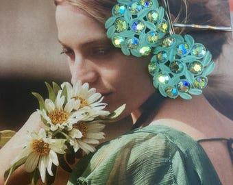 1stDayofSummerSALE Decorative Hair Pins Aqua Turquoise Blue Celluloid AB Aurora Borealis Rhinestone Bobby Pins