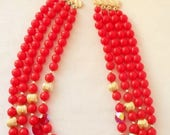 ON HOLD for Michelle                   4 Strand Cherry Red & Gold Bead Vintage Japan Necklace, Gold,  Beaded Extender, Jewelry, Necklace