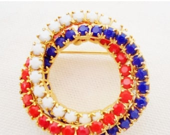 ON SALE Vintage Red, White & Blue Circle Brooch, Milkglass Stones, Goldtone Setting And Back, Patriotic, Collectible, Accessory, Jewelry