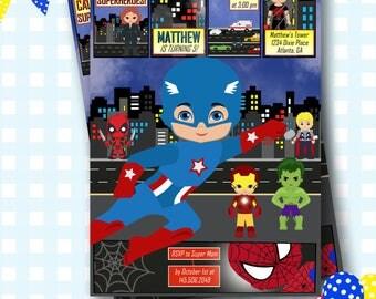 Superhero Invitation. Avengers Invitation, Superheroes Birthday Party, Superhero Birthday, Marvel Comics Invitation, Batman - #S53