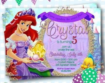 Little Mermaid Invitation, Ariel Invitations, Little Mermaid Invite, Ariel Birthday, Disney Princess Ariel Invite, Mermaid Invitation - P393