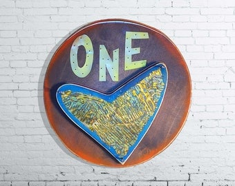 One Love, Bob Marley, inspiring quotes, Heart, music lover, 5 year anniversary, wooden signs, handmade signs, unique gift 15 inches