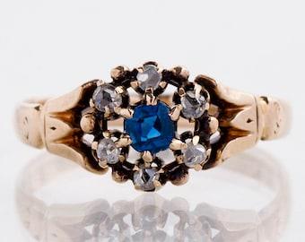 Antique Ring - Antique Victorian 10k Rose Gold Sapphire & Diamond Flower Ring