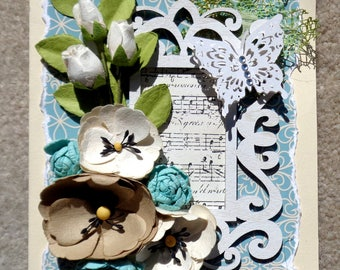 Birthday or Any Occasion Shabby Chic Floral Handmade 3D Greeting Card  with 3 Dimensional Flowers