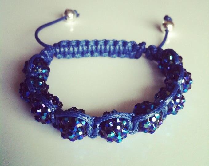 Navy Blue adjustable Shamballa bracelet #31