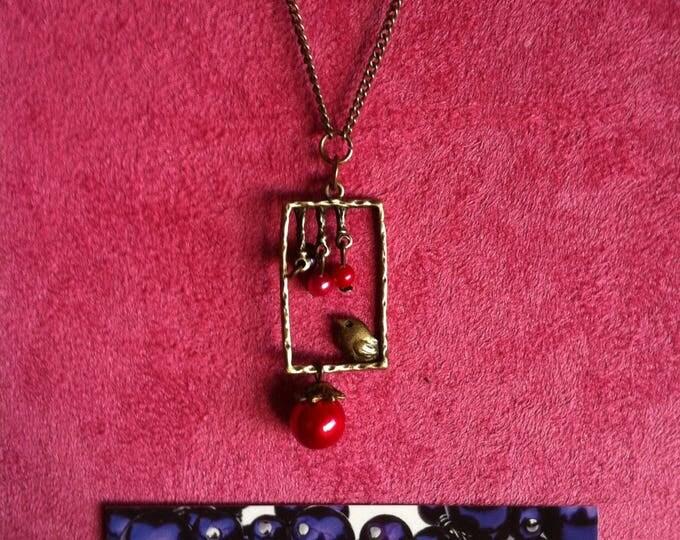 Necklace chain brass window red bird 025