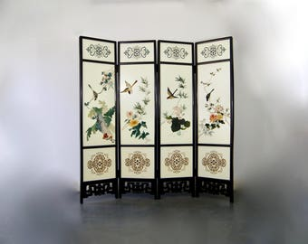 vintage 1950s auspicious oriental full length 4 panel lacquered coromandel folding screen room divider