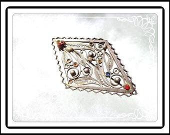 Silver Tone Filigree Brooch - Diamond Shaped with Multi Colored Rhinestones - Flowers & Leaves Pin - Vintage 1990s - Pin-2880a-092415007