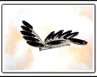 Art Deco Style Black Rhinestone Pin - Black & Clear Rhinestones - Feather  Brooch - Vintage 1950's 1960's Tuxedo Jewelry Pin-1306a-082914005