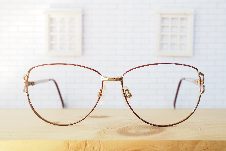 c2324200ed6c Vintage Eyeglass 1990's Oversize Brown Enamel Gold Toned Frames New Old  Stock Glasses made In Korea