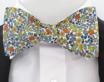 "Mens bowtie in Liberty print - ""Emilia's flowers"" -  in Mandarin orange and blue floral colourway-"