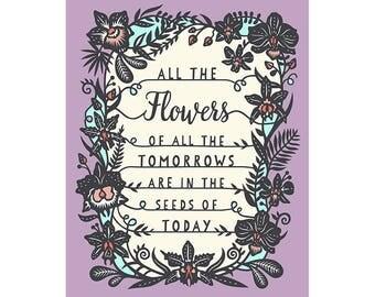8x10 Print - Tomorrow's Flowers - Original Papercut Illustration - Fine Art Print
