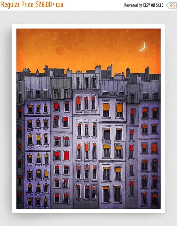 30% OFF SALE: Sleepy houses - Fine art illustration Paris Art Print Posters Home decor Wall decor Gift ideas for her Living room decor Purpl