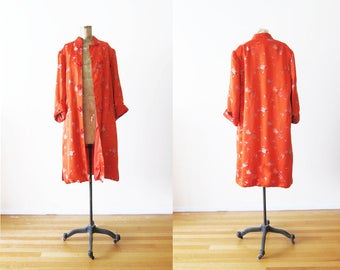 Silk Robe / Chinese Silk Robe / Dressing Gown / Red Silk Robe / Peony Silk / Chinoiserie / Asian Robe / Vintage Lingerie