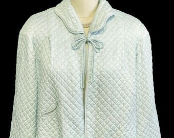 VALENTINES DAY SALE Vintage Barbizon Quilted Puffett Scalloped Bed Jacket Coiled Decorative Closure Aqua blue bed jacket barbizon bed jacket