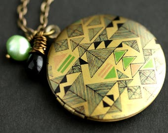 Trangle Geometry Locket Necklace. Geometric Necklace with Black Teardrop and Light Green Fresh Water Pearl. Photo Locket. Bronze Locket.