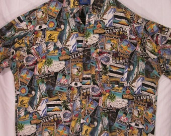 vintage, Pendleton LOBO all over picture Hawaiian bold print mens short slleve shirt mens size 1XL or XXL