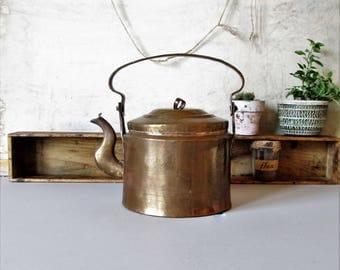 Vintage copper kettle, rustic farmhouse kitchen decor