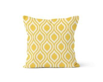 Yellow Lattice Pillow Cover Lattice - Nicole Corn Yellow - Many Sizes Lumbar, 12, 14, 16 - Zipper Closure - sc246l