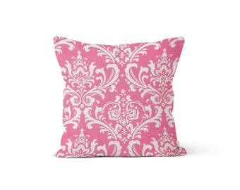Pink Damask Pillow Cover - Osborne Candy Pink - Lumbar 12 14 16 18 20 22 24 26 Euro - Hidden Zipper Closure