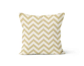 Khaki Chevron Pillow Cover - Zig Zag Khaki - Lumbar 12 14 16 18 20 22 24 26 Euro - Hidden Zipper Closure
