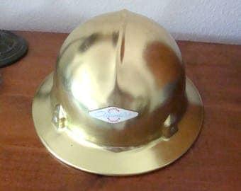 Vintage Jackson Alumitop GOLD Aluminum Hard Hat, Old Logging Industry Hat, Oregon Timber Country