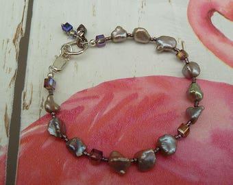 Jewellery, Beaded Bracelet, Pearl Bracelet, Bridal Bracelet, Grey and Mauve, Keshi Pearl Bracelet, Summer Jewellery, Light Grey Pearls, Gift
