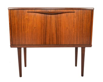 Danish Modern Mid Century Drop Front Brazilian Rosewood Cabinet by Lyby Møbler