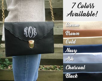 ENVELOPE CLUTCH BAG - Christmas Gift - Personalized Clutch - Bridesmaid Clutch - Monogrammed Clutch - Personalized Bag - Leather Clutch Bag